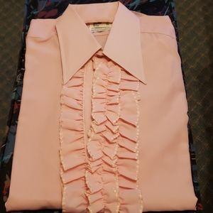 Vintage Mens light pink long-sleeved dress shirt